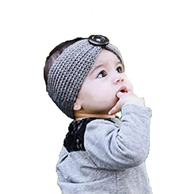af40499297c Ziory Grey Baby Girl Baby Boy Unisex Knit Crochet Turban Headband Warm  Headbands for Newborn Hair