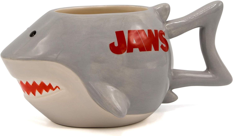 Silver Buffalo JW13063D Jaws Shark Ceramic 3D Sculpted Mug, 20-ounces, Grey