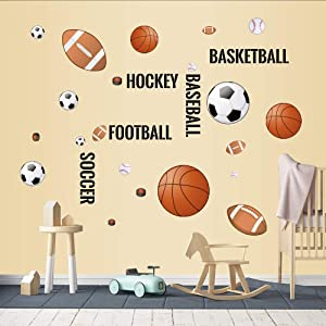 Supzone Sport Balls Wall Stickers Boys Wall Decals Basketball Soccer Baseball Football Hockey Wall Decor Boys Playroom Bedroom Classroom Living Room