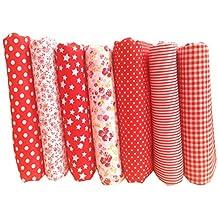 GlobalDeal Fat Quarter Bundle 7Pcs 50x50cm Cotton Sewing Fabric Floral Print DIY Craft Quilt Patchwork Cloth