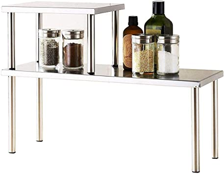Cook N Home 2-Tier Stainless Steel Counter Storage Shelf Organizer,  Rectangle