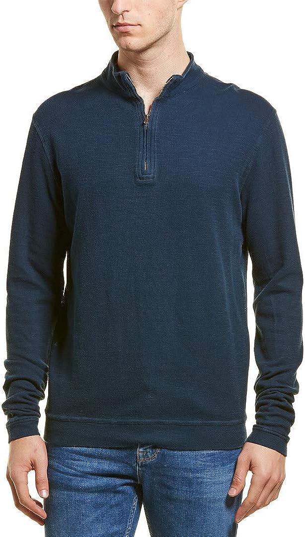 M.Singer Mens 1//4-Zip Pullover S Blue