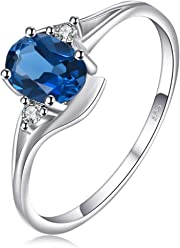 JewelryPalace Oval 1.5ct Natural Sky Blue Topaz Birthstone Solitaire Ring Solid 925 Sterling Silver Size l n p r 2zjPCC