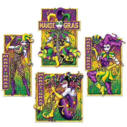 Beistle Mardi Gras Party Supplies, Printed Paper Masquerade Mime Cutout Decorations, Pack 48