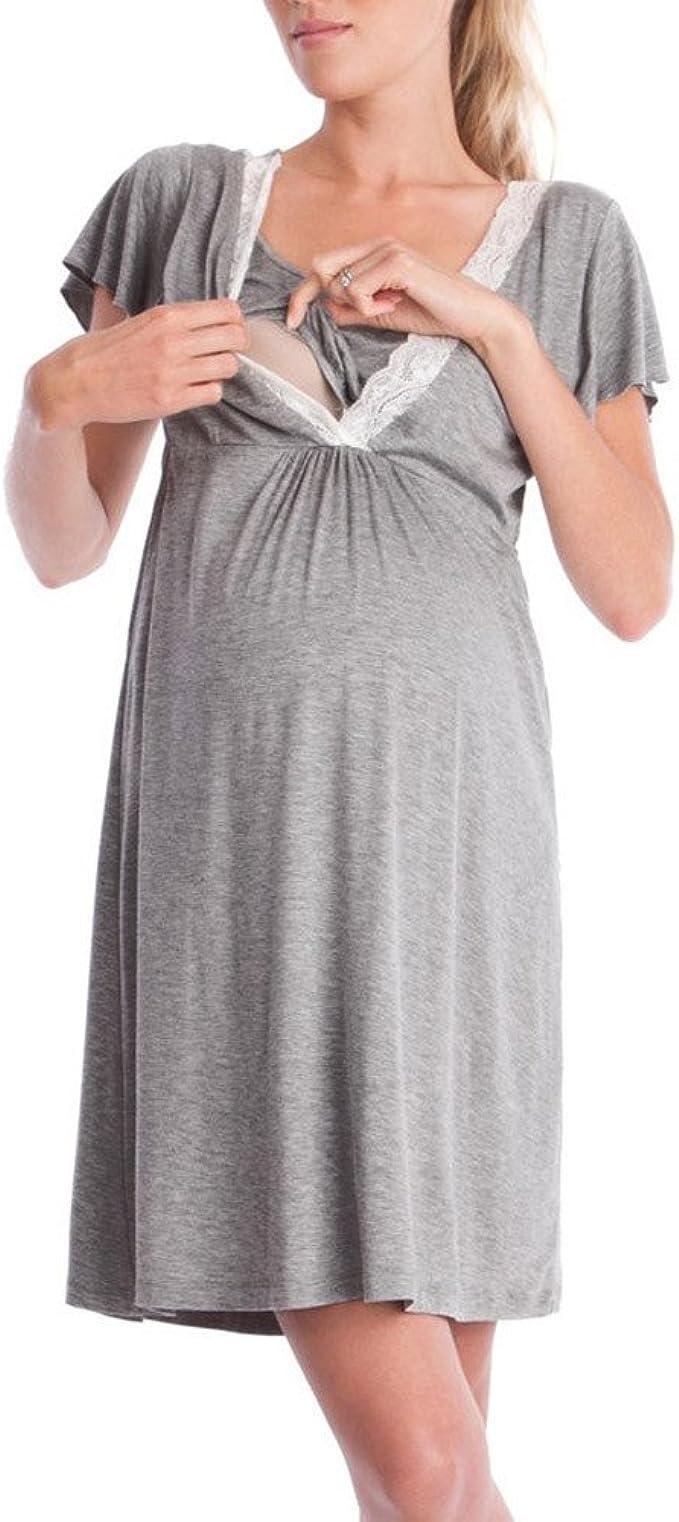 Damen Stillen Schwangerschaft Schwanger Minikleid Kurzärmelig Strandkleid