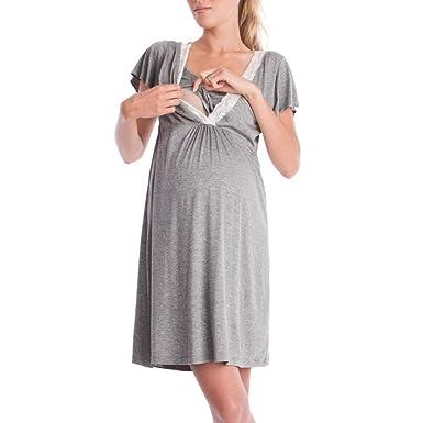 ... PAOLIAN Vestidos Maternidad Enfermería Sujetadores Lactancia Camisón Encaje Mujer Talla Grande Amamantamiento: Amazon.es: Ropa y accesorios