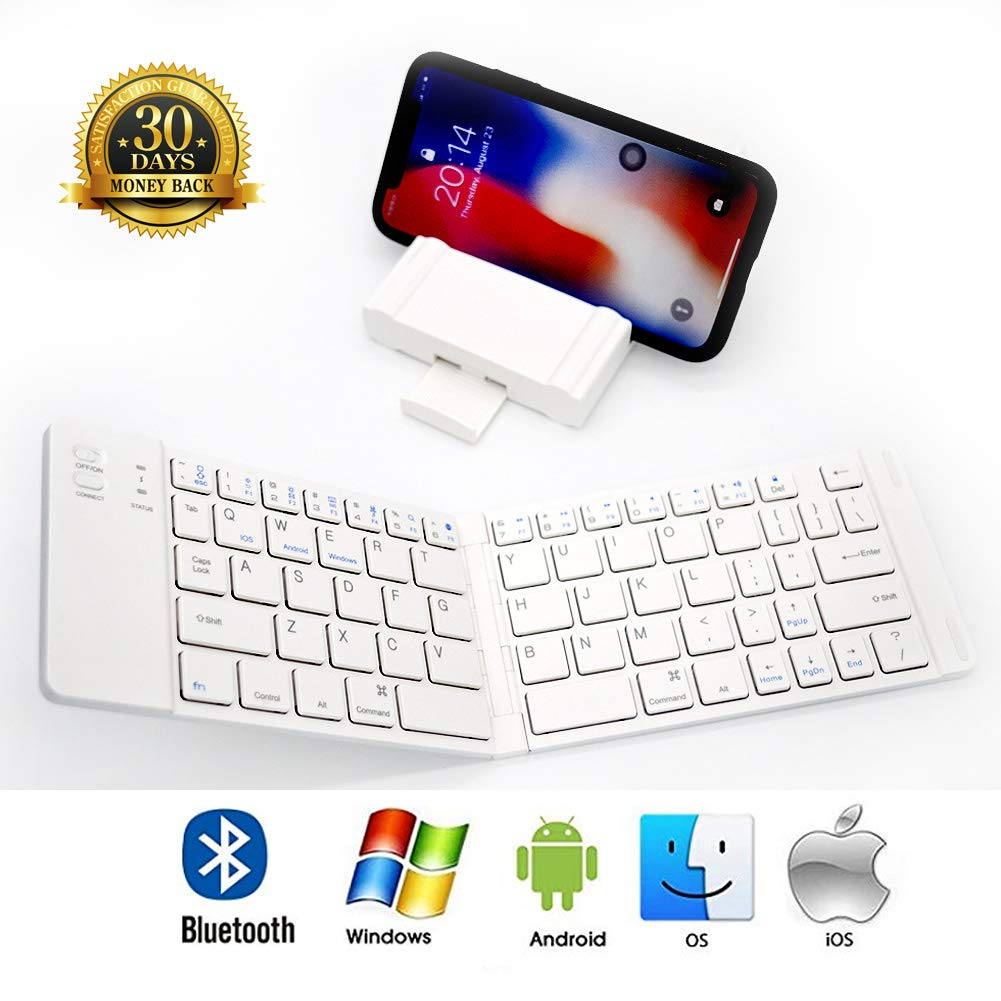 PFCKE Folding Bluetooth Keyboard,Ultra Slim Pocket Full Size,Rechargeable Portable Folding Bluetooth Keyboard for iOS/Android / Windows,IPad Smartphones Tablets,with Business Trips. by PFCKE