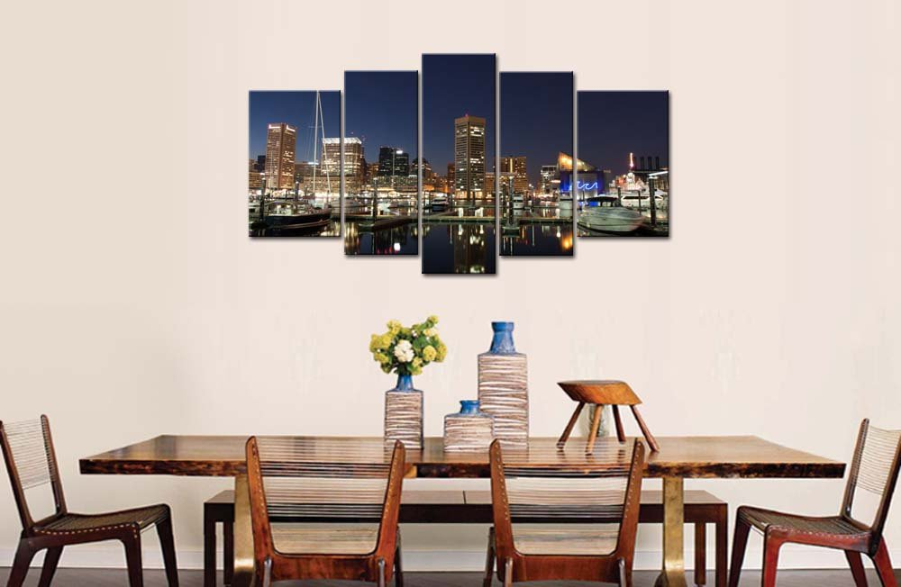 Amazon.com: 5 Piece Wall Art Painting Baltimore Harbor At Night Prints On  Canvas The Picture City Pictures Oil For Home Modern Decoration Print Decor  For ...
