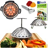 PRIME Vegetable Steamer Basket - EXTENDABLE HANDLE - Fits Instant Pot Pressure Cooker 5, 6 Qt & 8 Quart - 100% Stainless Steel - BONUS Accessories - eBook + Peeler | For Instapot - Use as Egg Rack