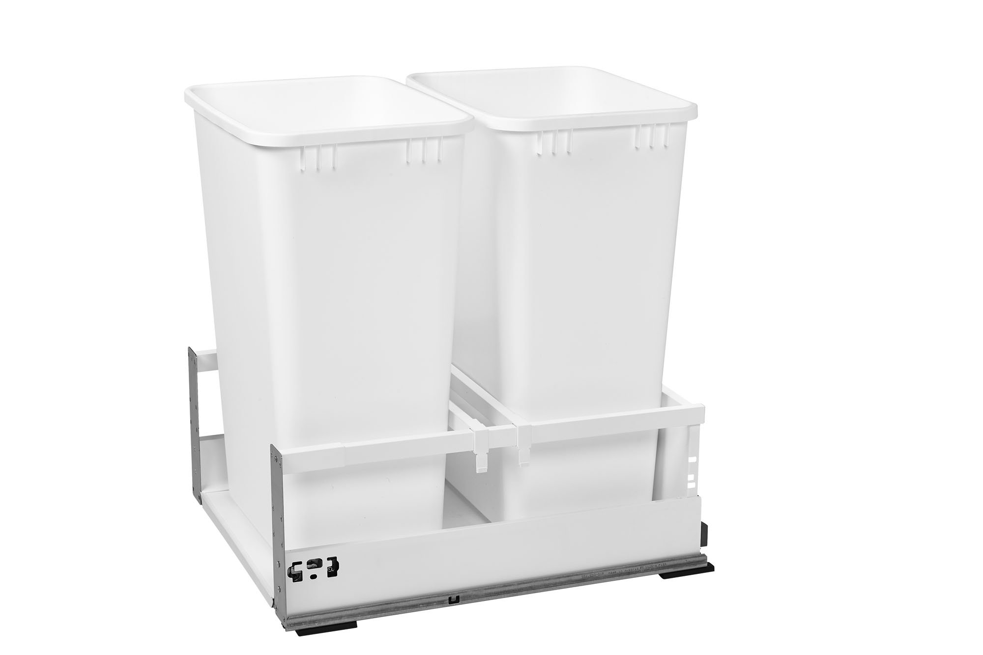 Rev-A-Shelf - TWCSC-2150DM-2 - Double 50 Qt. White Pull-Out Wood Bottom Mount Waste Container for 18 in. Opening