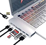 TEMACOO USB C HUB,Dual Type-C Adapter 50Gbps for MacBook Pro 2016/2017 13'' 15'', 7 in 2: USB-C 100W Power Delivery, USBC 5Gbps Data, 4K HDMI, Micro SD/TF/SD Card Reader, 2xUSB 3.1 Ports (SILVER)
