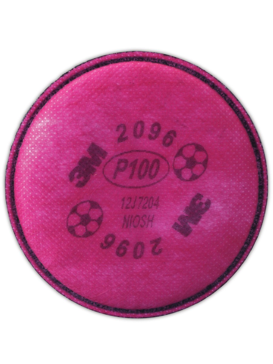 3M 3M2096 P100 Particulate Filter with Nuisance Level Acid Gas Relief, Standard, Pink (Bag of 2)