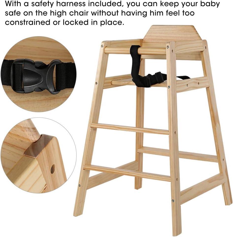 EBTOOLS Chaise Haute B/éb/é en Bois avec Repose-Pieds Ceinture de S/écurit/é Chaise Haute pour Enfant Chaise Haute Stable Durable pour Maison Utilisable /à Partir de 12 Mois