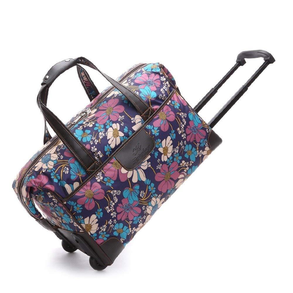 ZHANGQIANG ハンドトラベル荷物トロリーケース 女性のための車輪が付いている女性トロリーは大きい女性手荷物旅行袋を袋に入れます (色 : 7669 flowers bloom, サイズ さいず : 44*33*53cm) B07S1VTSK5 7669 flowers bloom 44*33*53cm