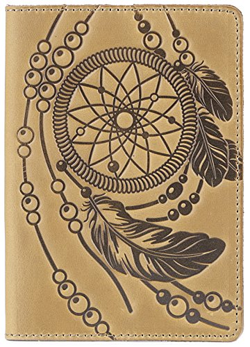 Leather Passport Holder - Passport Cover Case with Vintage Dreamcatcher Design (Light Yellow Vintage)