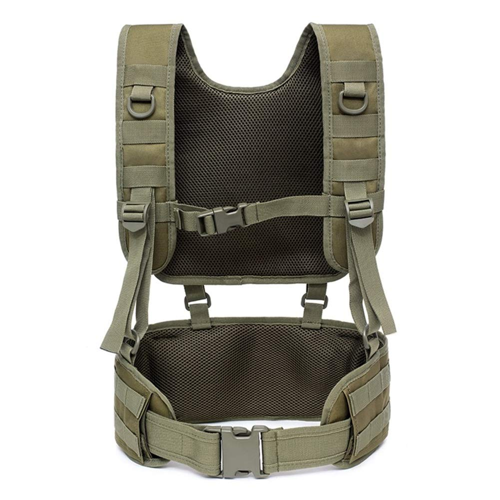 hothuishi Tactical Vest with Suspender Straps Airsoft Vest Suspenders Battle Belt Airsoft Chest Harness for Outdoor Training and Field Training ArmyGreen by hothuishi