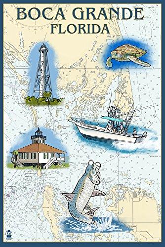 Boca Grande, Florida - Nautical Chart (12x18 Art Print, Wall Decor Travel Poster)