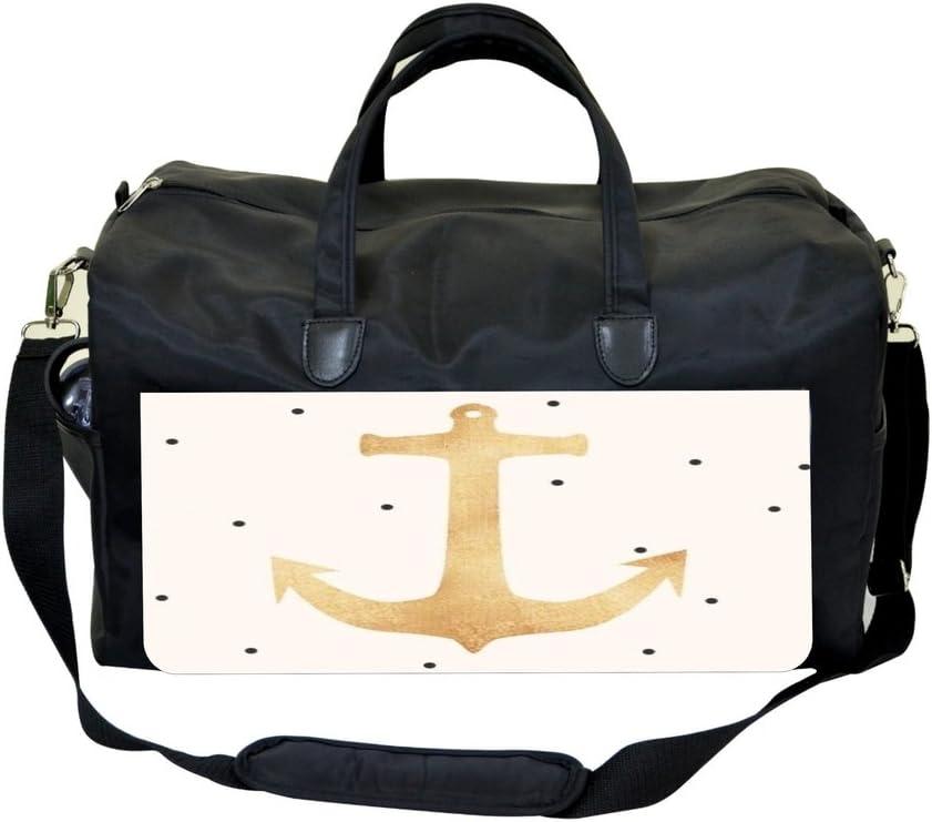 Gold Anchor on Polka Dots Print Design Weekender Bag