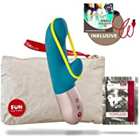 Fun Factory AMORINO - Rabbit Mini Vibrator mit Stimulationsband, für Klitoris, G-Punkt & Schamlippen, Set mit Tasche + Gleitgel, körperfreundlich & wasserdicht (petrol)