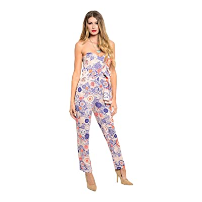 25913ae43d6d 2LUV Women s Dressy Strapless Abstract Print Jumpsuit