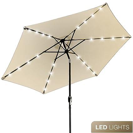 Sorbus LED Outdoor Umbrella, 10 Ft Patio Umbrella LED Solar Power, With  Tilt Adjustment