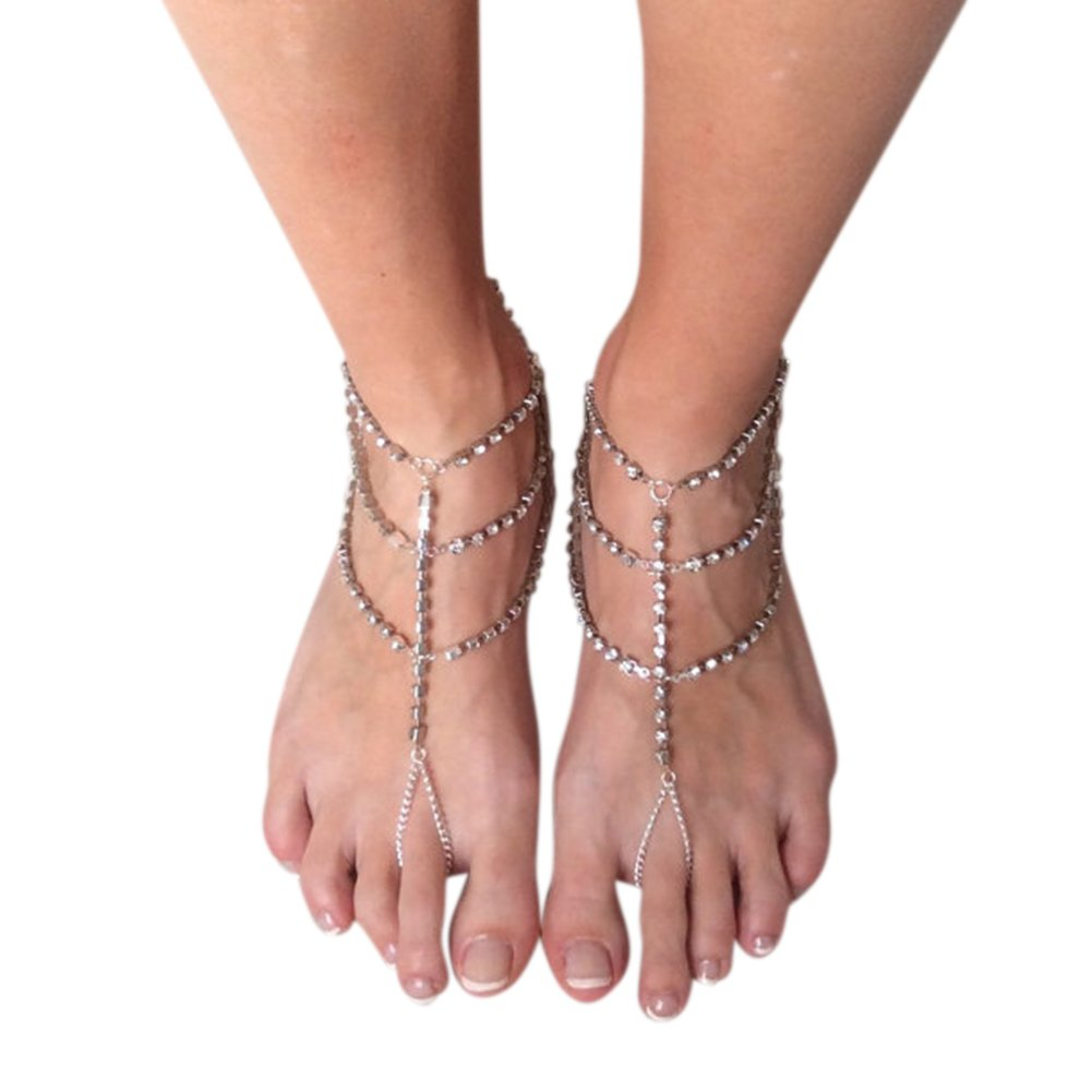 1PC Women Fashion Rhinestone Barefoot Sandals Foot Jewelry Diamante Multilayer Foot Anklet Chain Alician SZXZ-00JPMS6YK