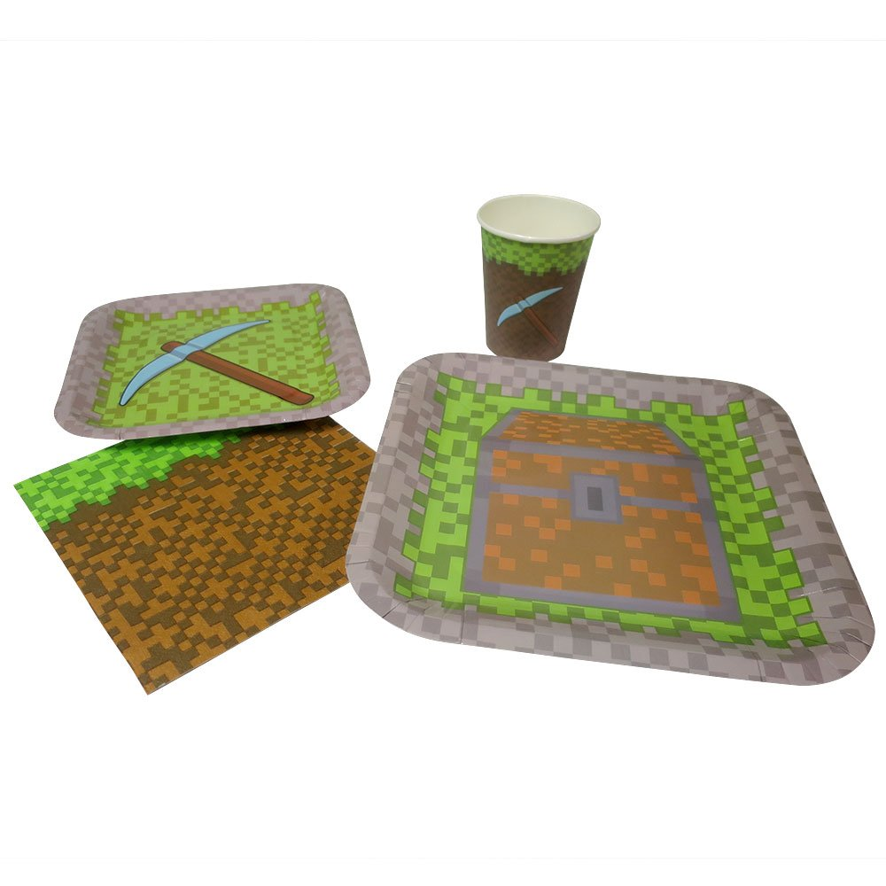 Blue Orchards Mining Fun Standard Party Packs (65+ Pieces 16 Guests!), Minecraft Inspired, Pixel Party Supplies, Birthday Parties by Blue Orchards