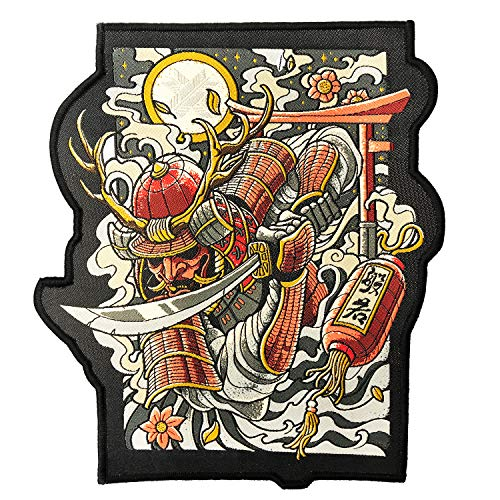 Ronin Oni Bushi Patch - Samurai Tactical Backpack Patch - Woven Cut Out Custom Patches for Backpack and Jackets - 6 ¾ x 8-inch BJJ Patch with Piping Border - Cool Warrior Patch Display (Japanese Martial Arts Patches)