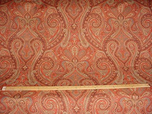 21RT6 - Brick / Pistachio / Carnelian Persian Paisley Medallion Kilim Tapestry Drapery Upholstery Drapery Fabric - By the Yard