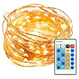#10: TaoTronics TT-SL036 33ft 100 LED String Lights Dimmable with Remote Control, Waterproof Decorative Lights for Bedroom, Patio, Garden, Gate, Yard, Parties, Wedding. UL588 and TUVus Approved(Warm White)