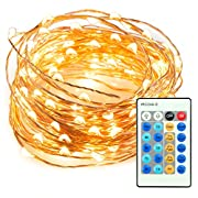 TaoTronics TT-SL036 33ft 100 LED String Lights Dimmable with Remote Control, Waterproof Decorative Lights for Bedroom, Patio, Garden, Gate, Yard, Parties, Wedding. UL588 and TUVus Approved(Warm White)