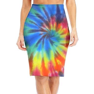 e244bc7f3c Amazon.com  DQSSX SK Rainbow Tie-Dye Girls High Waist Band Bodycon Career  Office Midi Pencil Skirt  Clothing