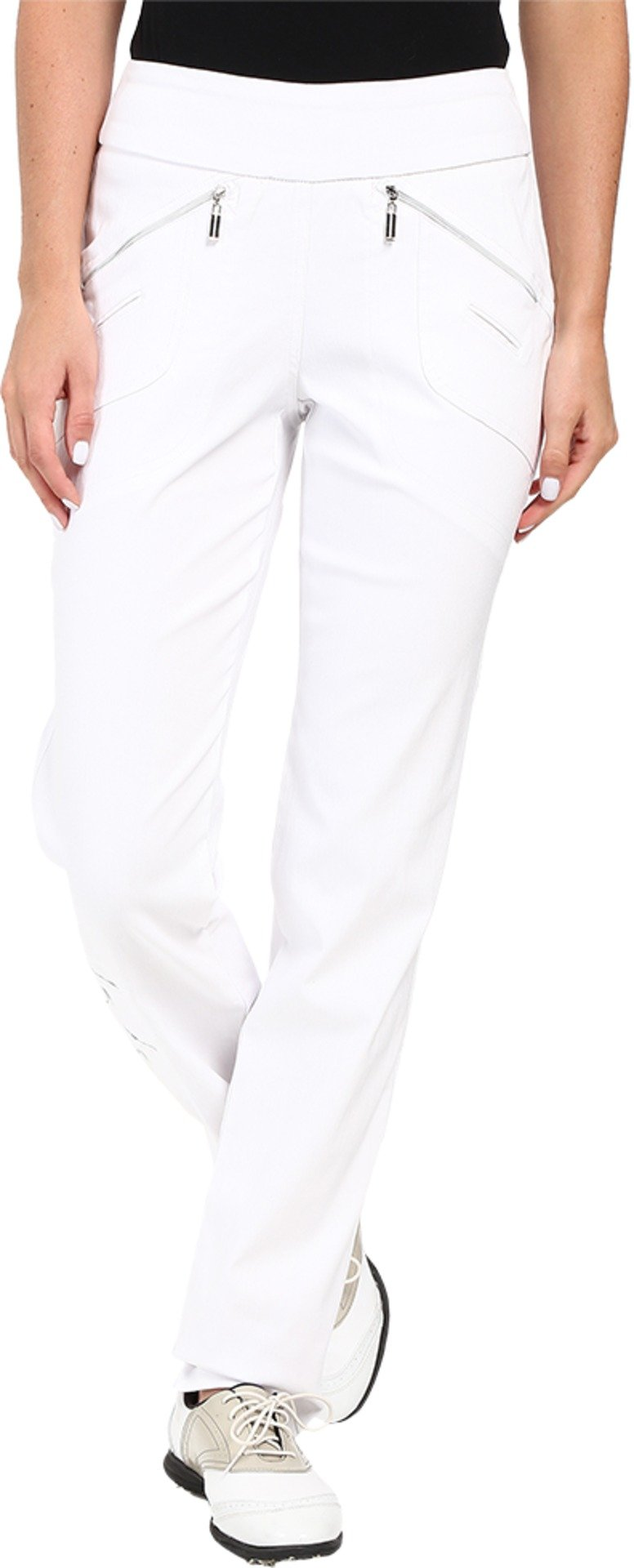 Jamie Sadock Women's Skinnylicious 41.5 in. Pant with Control Top Mesh Panel Pure White Pants 14 X 32