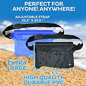 Aquamare Waterproof Pouch Dry Bag with Waist Strap (2 Pack- Black,Blue)