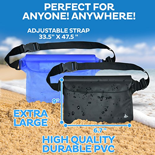 Aquamare-Waterproof-Pouch-Dry-Bag-Case-with-WaistShoulder-Strap-Fanny-Pack-2-Pack-Blue-and-Black-Color