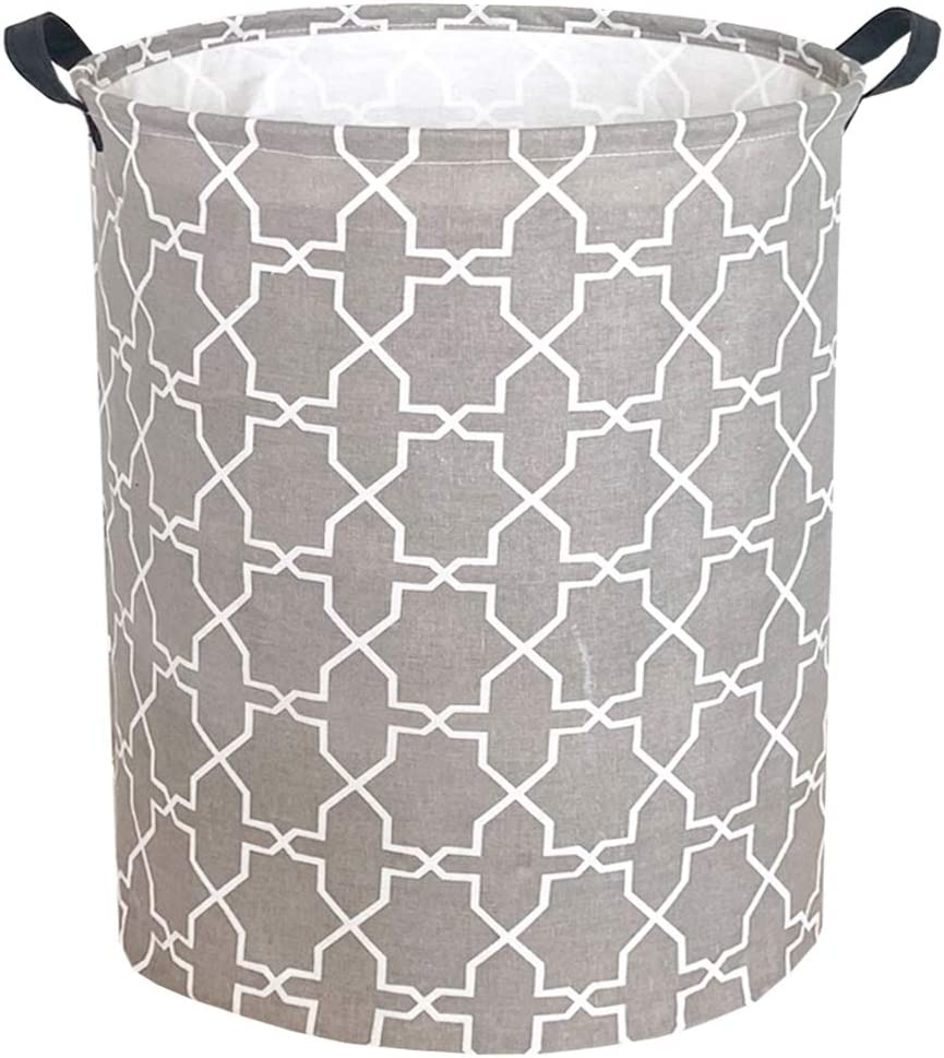 "Sanjiaofen 19.7"" Large Laundry Hamper Bucket Waterproof Coating Storage Bin Collapsible Washing Basket Home Nursery Toy Organizer,Canvas Storage Basket with Stylish Design(Grey Polygon)"