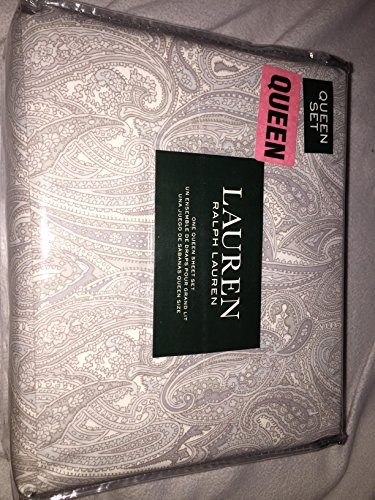 Ralph Lauren Coral Beach Paisley Queen Sheet Set beige tan blue ()