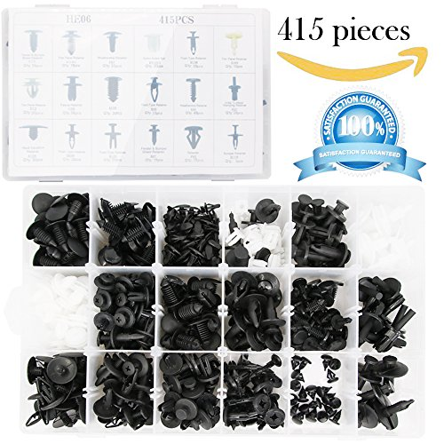 Shield Cap Retainer (415 Pcs Push Retainer Clips Kit - 18 MOST Popular Sizes Auto Push Rivets Set - Plastic Car Clips & Fasteners Assortment For GM Ford Toyota Honda Chrysler (With No Remover Tool))