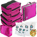 Travel Organizer Full Pack Set - Packing Cubes, Toiletry Bag, Shoes Bag, ZipBags (PINK)