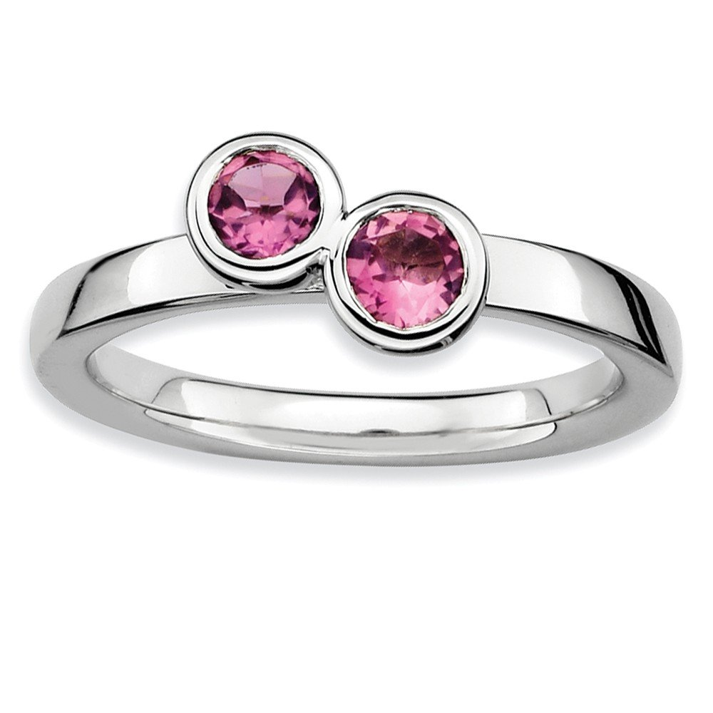 Top 10 Jewelry Gift Sterling Silver Stackable Expressions Dbl Round Pink Tourmaline Ring