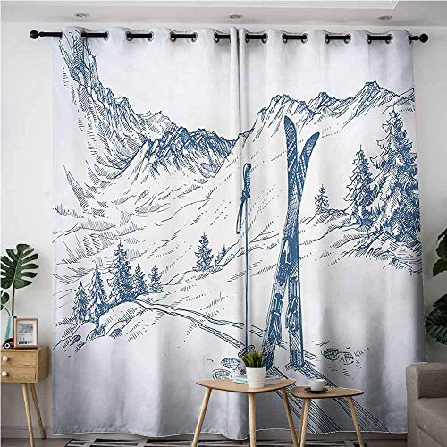(VIVIDX Kids Curtains,Winter Sketchy Graphic of a Downhill with Ski Elements in Snow Relax Calm View,Curtains for Living Room,W72x84L,Blue White)