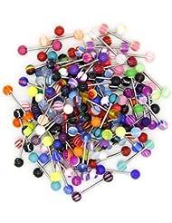 CrazyPiercing 110 PCS Wholesale 14g Tongue Rings Barbells Assorted Colors
