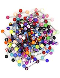 110 PCS Wholesale 14g Tongue Rings Barbells Assorted Colors