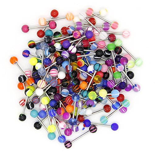 CrazyPiercing Wholesale 14g Tongue Rings Barbells Assorted Colors (110 PCS Acrylic Ball) (stainless steel) (Barbell Ring Tongue Red)