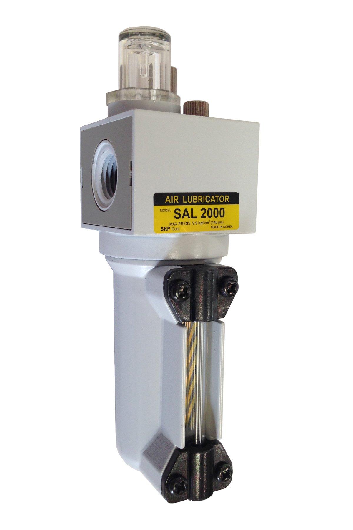 PneumaticPlus SAL2000M-N02B-MEP Miniature Compressed Air Lubricator 1/4'' NPT - Metal Bowl, Bracket