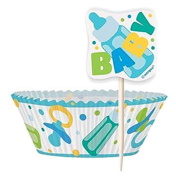 Casos de bebé azul de la magdalena de la ducha y la magdalena Kit para 24: Amazon.es: Juguetes y juegos