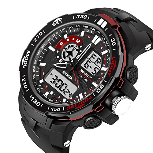Sport Big Dial Waterproof Digital-Analog Multifunction Rubber Strap Quartz Men Wrist Watch, - Expensive Brands Mens Most