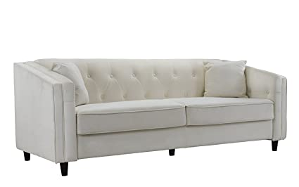 Superbe Classic Victorian Style Tufted Velvet Sofa, Living Room Couch With Tufted  Buttons (Ivory)