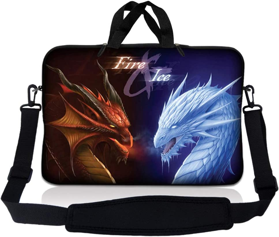 Laptop Skin Shop 8-10.2 inch Neoprene Laptop Sleeve Bag Carrying Case with Handle and Adjustable Shoulder Strap - Fire & Ice Dragons