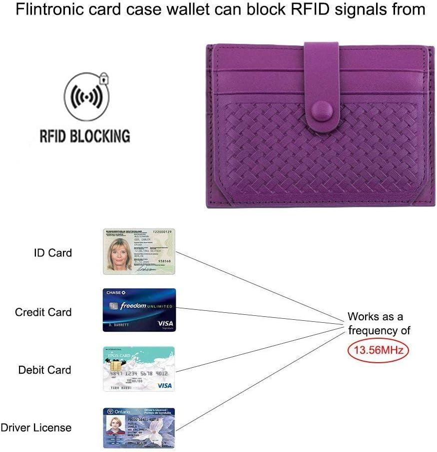 Violet Bifold Portefeuille Cuir V/éritable flintronic/® Porte Cartes de Cr/édit RFID NFC Blocage avec Poche /à Monnaie avec Bouton Couvert pour Femmes